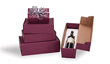 Amazon Com Burgundy 3 Bottle Corrugated Cardboard Wine Gift Boxes