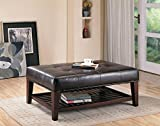 Dark Brown Leather Ottoman Coffee Table Coaster Home Furnishings  Modern Transitional Rectuangular Tufted Upholstered Ottoman with Storage Shelf - Brown Faux Leather