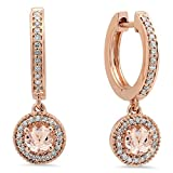 10K Rose Gold Round Morganite & White Diamond Ladies Halo Style Dangling Drop Earrings