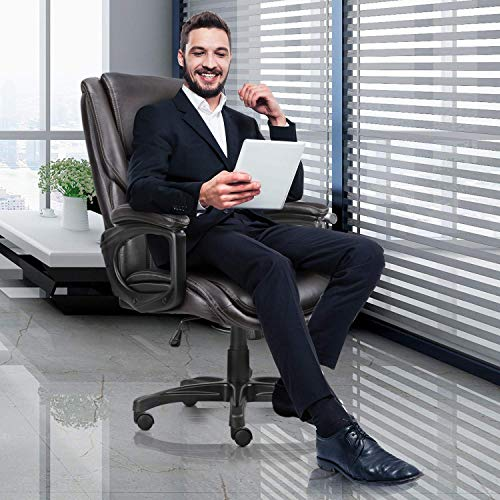 Executive Office Chair with Brown Leather, Swivel Desk Chair for Home and Office, Ergonomic Computer Chair with Adjustable seat by Becozier (Image #1)