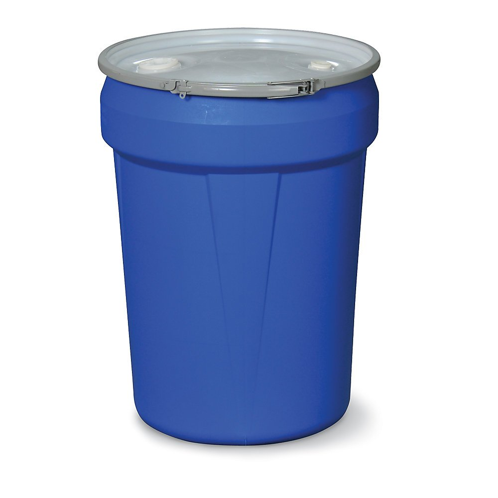Eagle 1601MBBG Drum with Metal Band and Plastic Lid with Bungs, 30 gal, Blue