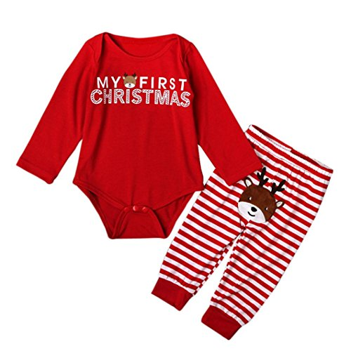 Christmas Outfit, WuyiMC Baby Boy Girls' 2pcs Set Red Romper + Stripe Pants (0-6 Months, - Usps Tracking Day 3