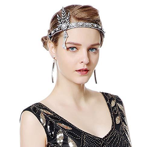 Radtengle 1920s Flapper Headband Great Gatsby Themed Rhinestone Crystal Pearl Wedding Hair Accessories Headpiece]()
