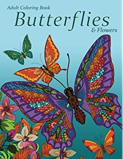 Adult Coloring Book Butterflies Flowers