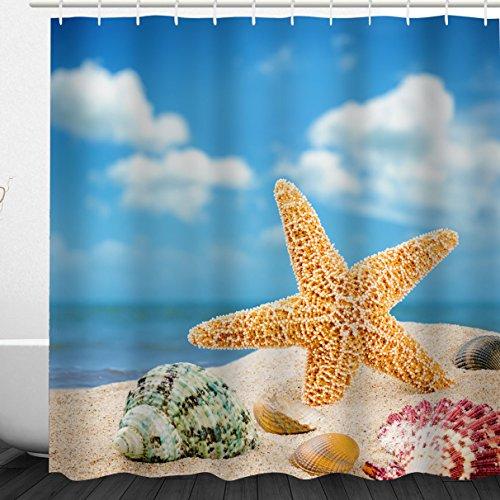 Ocean Beach Shower Curtain Blue, Nautical Seaside Starfish Seashell Conch on Beach Seascape on Sunny Sky Print , Waterproof Fabric Bathroom Décor Set, 72 x 72 Inch, White,Blue,Orange,Sandy Brown (Shell Conch Blue)
