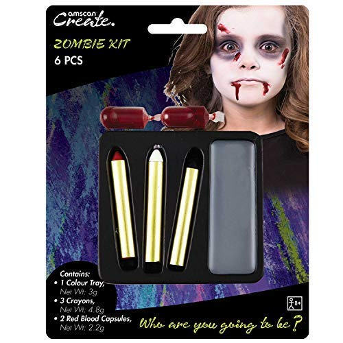 Childrens Boys Girls Zombie Make Up Face Paint Kit with Fake Blood Halloween Fancy Dress Costume Outfit Accessory ()