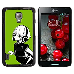 Qstar Arte & diseño plástico duro Fundas Cover Cubre Hard Case Cover para LG Optimus L7 II P710 / L7X P714 ( Anime Girl White Hair Headphones Music Green)