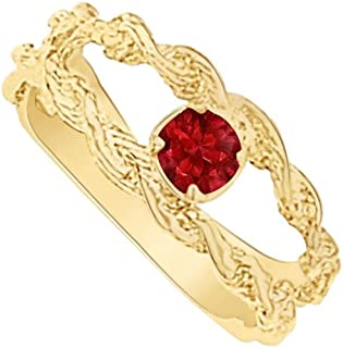 Pretty Ruby Wide Split Shank Mother Ring in Yellow Gold Vermeil Amazing Design at Great Price