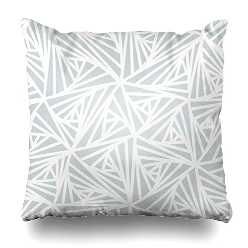 Ahawoso Throw Pillow Cover Optical Gray Crystal Abstract Line Geometric Light Star White Grey Winter Pattern Graphic Diamond Home Decor Cushion Case Square Size 20 x 20 Inches Zippered Pillowcase