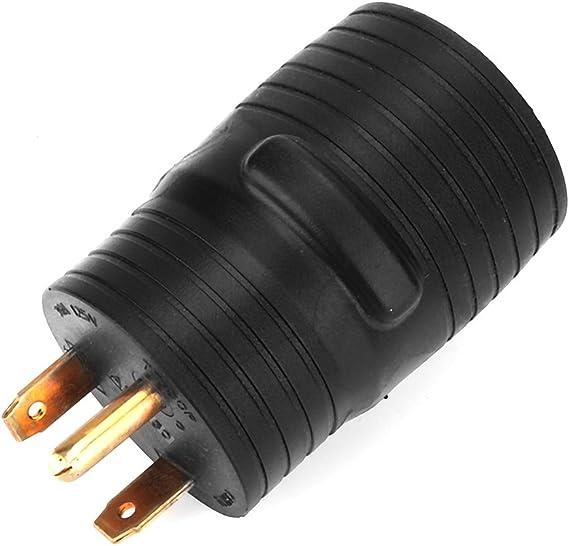 Suuonee RV Power Cord Plug 125V RV Power Cord Adapter 30A Male to 50A Female Connector Plug US Plug Black