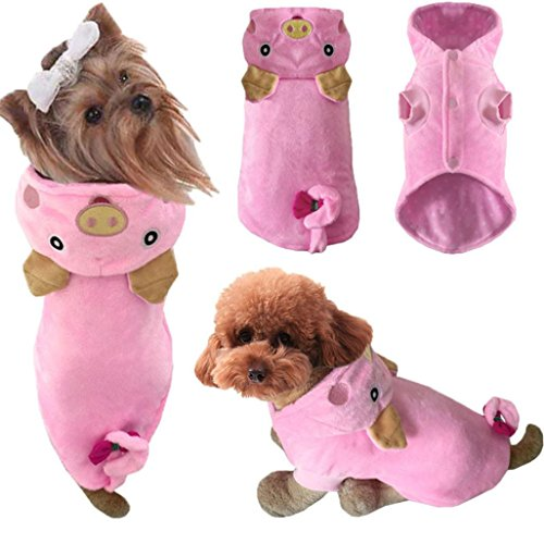 Pet Dog Puppy Clothes, AMA(TM) Cute Small Dog Pig Design Hoodie Winter Warm Jacket Coat Doggie Cosplay Thick Costume Apparel (S, Pink) -