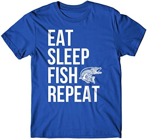 LaMAGLIERIA Herren-T-Shirt Eat Sleep Fish Repeat - T-Shirt Fisch Fischer 100% Baumwolle