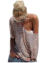 Women Sexy Summer Half Sleevle Off Shoulder Sequins Loose Top Tee Shirts