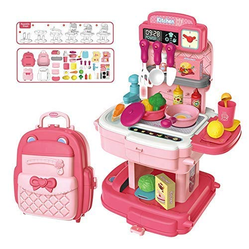 divine man 2 in 1 School Bag Turn into Kitchen Set Toy for Kids with Light and Accessories Portable Musical Suitcase 34 Pcs for Girls (Kitchen Play Set)