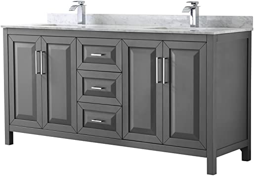 Wyndham Collection Daria 72 Inch Double Bathroom Vanity In Dark Gray White Carrara Marble Countertop Undermount Square Sinks And No Mirror Amazon Com