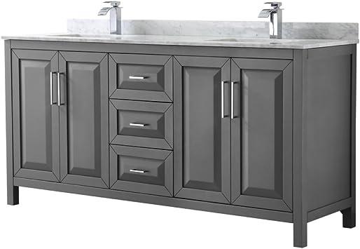 Wyndham Collection Daria 72 Inch Double Bathroom Vanity In Dark Gray White Carrara Marble Countertop Undermount Square Sinks And No Mirror Amazon Com