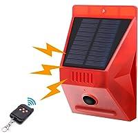 Solar Strobe Light met bewegingsdetector Achort Solar Alarm Light met Remote 129db Sound Security Siren 8 LED Light IP65…