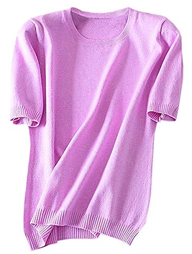 Women's Short Sleeves Knitted Cashmere Sweater Tops T Shirt Blouse, Purple, Tag 4XL = US L