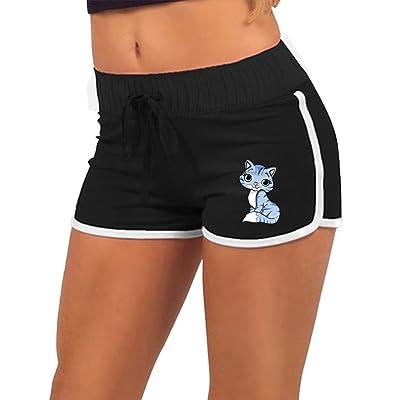 Women Summer Sports Drawstring Shorts Cat Kitten Retro Running Yoga Gym Workout Pants