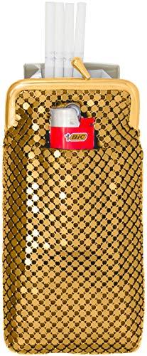 (Gold Vintage Luxuriant Soft 4mm Metallic Mesh (Full Pack 120s) Cigarette Case Purse With Lighter Pocket.)