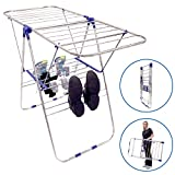 "EasyGo Lightweight Laundry Drying Rack - Economical Stainless Steel Folding Clothes Dryer with Top, Bottom Shelf & Shoe Rack - Light Duty Gullwing Style, 40"" L x 24"" H x 2"" W"