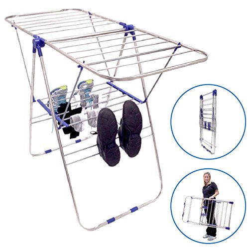 "UPC 600004997551, EasyGo Lightweight Laundry Drying Rack - Economical Stainless Steel Folding Clothes Dryer with Top, Bottom Shelf & Shoe Rack - Light Duty Gullwing Style, 40"" L x 24"" H x 2"" W"