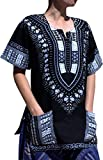 RaanPahMuang Traditional African Dashiki Shirt In Light Thin Grade Batik Cotton, Large, Black/Gray