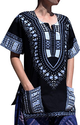 RaanPahMuang Traditional African Dashiki Shirt In Light Thin Grade Batik Cotton, XXX-Large, Black/Gray by RaanPahMuang