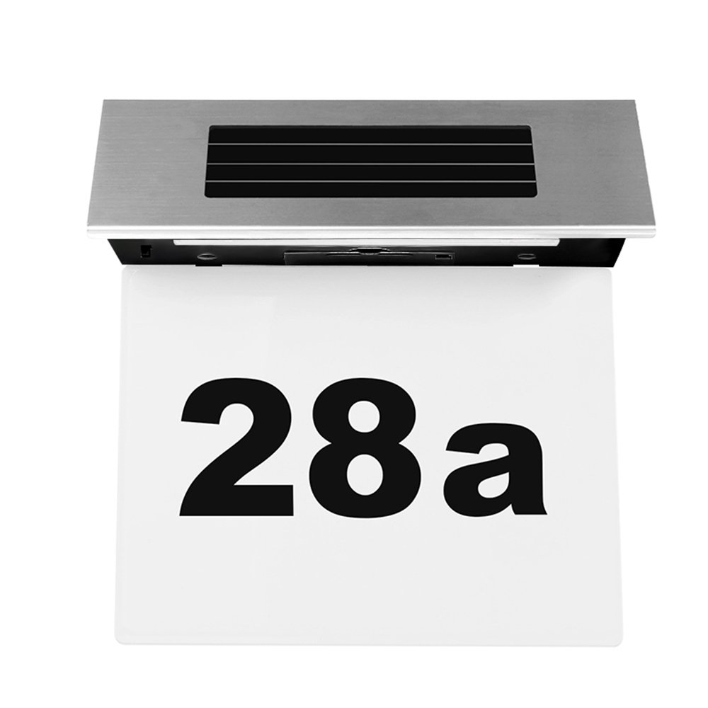 Houkiper Solar Powered LED House Address Doorplate Number Light - Stainless Steel Door Numbers Wall Plaque Doorplate Light Lamp