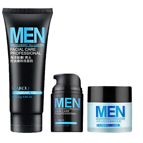 Hanyia Men Anti Aging Daily Skincare Set 3Pcs - Oil Control Facial Cleanser + Moisturizing Cream Day + Sleep Mask Night