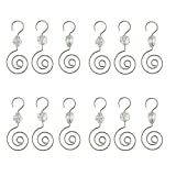 HOHIYA Christmas Ornament Hooks Hangers with Acrylic Gem 2.5inch(Silver, pack of 36)