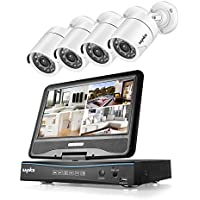 SANNCE DVR Recorder 8CH 720P HD Video Monitoring System with 1080N 10.1'' LCD Combo and (4) Surveillance Cameras Support P2P Technology, QR Code Scan Phone Remote Access Viewing -No HDD