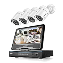 SANNCE 4CH 720P DVR Security Camera System and 4pcs 1.0 MP 1280TVL Bullet CCTV Cameras, Built-in 10.1 inches Monitor, Support P2P Technology, QR Code Scan Phone Remote Access Viewing - NO HDD