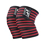 RitFit Knee Wraps (pair) - Ideal for Squats, Powerlifting, Weightlifting, Cross Training WODs & Gym Workout - Compression & Elastic Support - For Men & Women - Bonus Carry Case