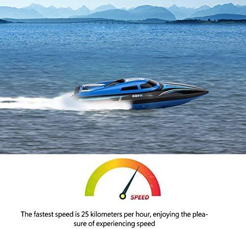2.4GHz télécommande RC bateau, 4 canaux télécommande bateaux 25 km/h Speedboat bateau modèle jouet pour enfants et adultes