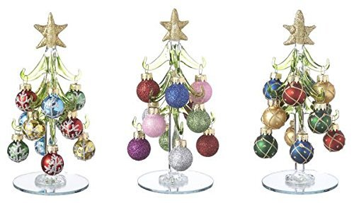 """Ganz Blown Glass 6"""" Tall Christmas Trees with Ornaments Set of 3 EX29351 from Ganz"""