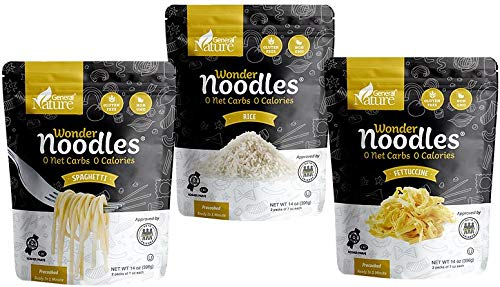 Zero Calorie Wonder Noodles Combo Pack | Kosher, Vegan-Friendly, Carb-Free Noodles | No Sugar, No Fat | Ready to Eat Gluten Free Pasta Diet Food | Spaghetti (14oz), Fettuccine (14oz), Rice 14oz()
