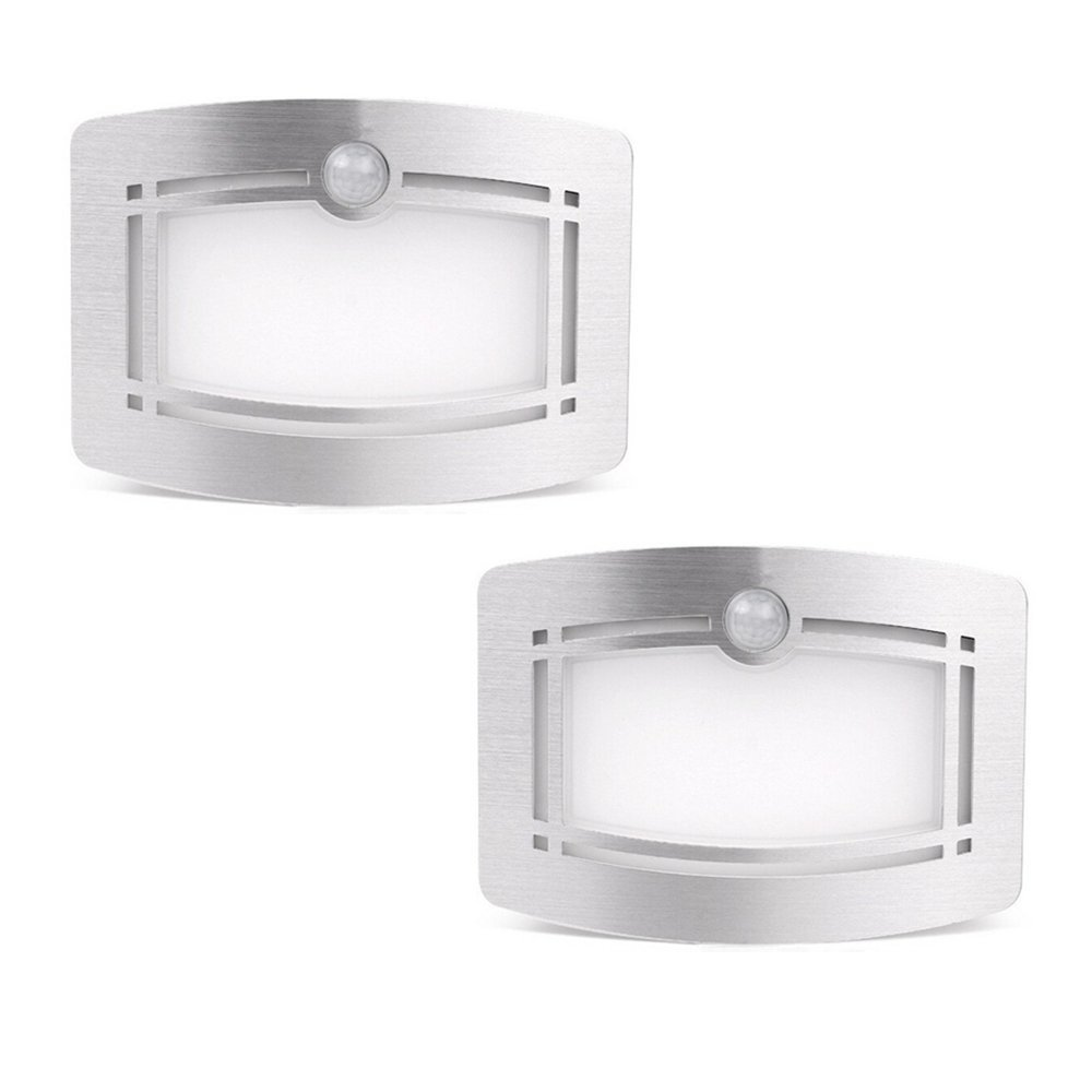 Prosshop 2 Pack LED Sconce Wall Light Modern Luxury Aluminum Stick Anywhere Bright Wireless Motion Sensor Activated Night Lamp Auto On/Off for Hallway, Pathway, Staircase, Garden