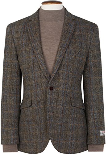 THE FINE SWINE Harris Tweed Coats (Mid-Brown Sumburgh, 48R)