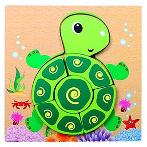 Price comparison product image Wood Puzzle,  Kingspinner Kids Jigsaw Gift Brain Toys Hand Grasping Puzzle Board Cartoon Wood Three-Dimensional Puzzle Toy Educational Funny Toy (Tortoise)