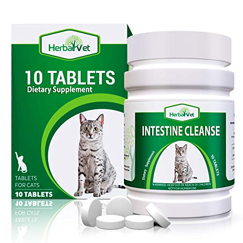 HerbalVet 10 Tablets Cat Intestinal Cleanse | Cat Dewormer Alternative | Cleansing Tablets for Cats, Promotes Intestinal Health | Helpful E-Book Included, 1 Bottle of Ten