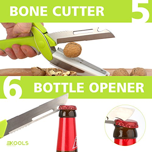 kools Clever 8-in-1 Food Chopper Set - with Chopping Board and Detachable Knife, Ideal as Vegetable and Meat Chopper or Slicer, Bottle Opener, Peeler, including Sharpener and Finger Guard by kools (Image #5)