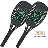 Onlyvogue Solar Torch Lights LED Solar Flame Light 96 LEDs Waterproof Lantern Lights Green Fire Flickering Flame Wireless Solar Garden Lights for Patio Pathways Yard(2 Pack)