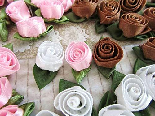 Ribbon Art Craft Decoration 60 Pink,Brown,White Satin Ribbon 1