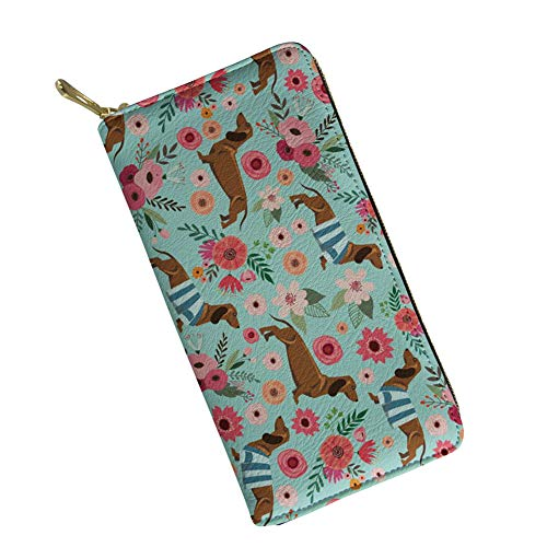Women's Ladies Wallets Large Capacity Floral Dachshund Leather Wallet Card Holder Mint Green ()