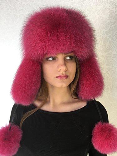 (Blue Fox Fur Ushanka Hat Raspberry Pink With Leather Saga Furs Women's PomPom's)