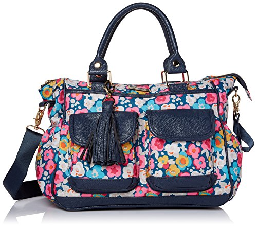 Itzy Ritzy Triple Threat Convertible Diaper Bag - Converts from a Tote to a Messenger Bag to a Backpack Diaper Bag; Includes 13 Total Pockets, Matching Stroller Straps & Changing Pad, Posy Pop