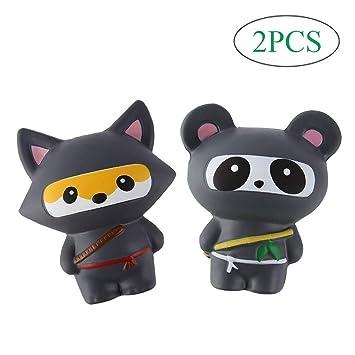 Anboor 2 PCS Squishies Ninja Jumbo Panda y Fox Slow Rising ...