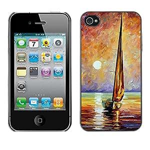 LASTONE PHONE CASE / Carcasa Funda Prima Delgada SLIM Casa Carcasa Funda Case Bandera Cover Armor Shell para Apple Iphone 4 / 4S / Ship Sea Sun Summer Captain