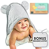 Premium Bamboo Hooded Baby Towel and Washcloth Set, Extra Soft | Organic Baby Towels with Hood | Extra Large, 2x Thick Baby Bath Towel | Baby Hooded Towel for Boy, Girl, Newborn, Infant and Toddler